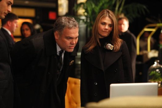 "Vincent D'Onofrio and Kathryn Erbe in ""Law & Order: Criminal Intent."""