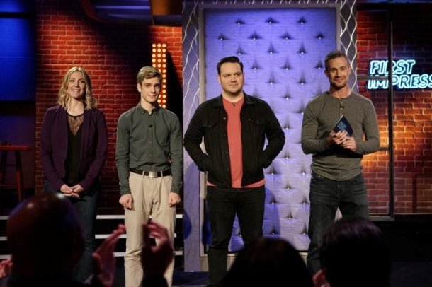 "FIRST IMPRESSIONS -- ""Jon Lovitz"" Episode 102 -- Pictured:  (l-r) Amy Phillips, Ryan Goldsher, Frank Garcia-Hejl, Freddie Prinze Jr. -- (Photo by: Joseph Viles/USA Network)"