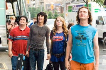 """Josh Gad, Teddy Geiger, Emma Stone and Rainn Wilson in """"The Rocker."""""""