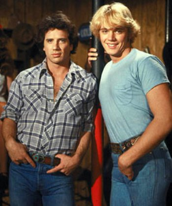 "Tom Wopat and John Schneider in ""The Dukes of Hazzard."""