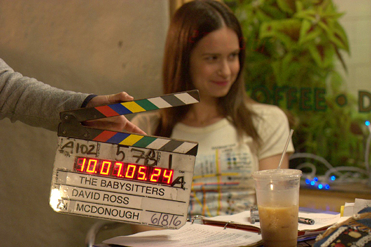 "Katherine Waterston filming ""The Babysitters."""