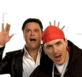 "Donny Osmond and ""Weird Al"" Yankovic in the ""White and Nerdy"" video."