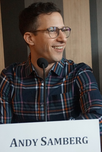 "Andy Samberg at the NY press day for ""Popstar: Never Stop Never Stopping."""