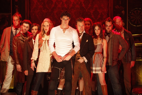 "Benjamin Walker and the cast of ""Bloody Bloody Andrew Jackson."""