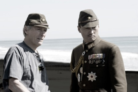 "Director Clint Eastwood and Ken Watanabe making ""Letters from Iwo Jima."""