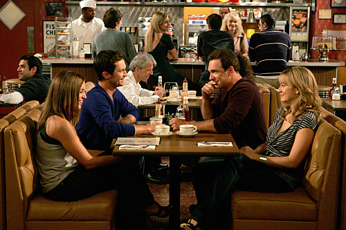 """Dad's Visit"" --Pictured (L-R) Bianca Kajlich as Jennifer, Oliver Hudson as Adam, Patrick Warburton as Jeff and Megyn Price as Audrey of the CBS series RULES OF ENGAGEMENT, Monday, March 23 (9:30-10:00 PM, ET/PT) on the CBS Television Network. Photo: Monty Brinton/CBS ©2008 CBS Broadcasting Inc. All Rights Reserved."