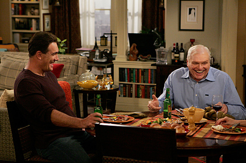 """Dad's Visit"" -- Much to Audrey's dismay, Roy (Brian Dennehy, right), Jeff's (Patrick Warburton, left) chauvinist father extends his visit after spraining his ankle, on RULES OF ENGAGEMENT, Monday, March 23 (9:30-10:00 PM, ET/PT) on the CBS Television Network. Photo: Monty Brinton/CBS ©2008 CBS Broadcasting Inc. All Rights Reserved."