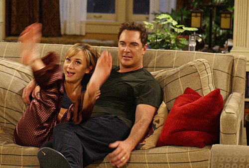 """Lyin' King""--Jeff (Patrick Warburton) and Audrey (Megyn Price) come up with a lie to get out of going to a party at Adam and Jennifer's, on RULES OF ENGAGEMENT Monday, March 30 (9:30-10:00 PM, ET/PT) on the CBS Television Network. Photo: Robert Voets/CBS ©2008 CBS Broadcasting Inc. All Rights Reserved."