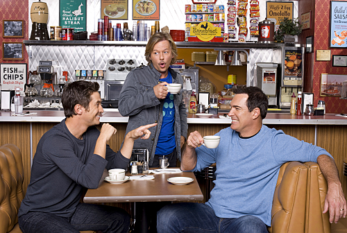 RULES OF ENGAGEMENT, a comedy about the different phases of male/female relationships, as seen the through the eyes of an engaged couple, a long-time married pair and a single guy on the prowl. Pictured (L-R) Oliver Hudson, David Spade, and Patrick Warburton in the CBS series RULES OF ENGAGEMENT season premieres Monday, March 2 at 9:30 PM on the CBS Television Network. Photo: Monty Brinton/CBS ©2008 CBS Broadcasting Inc. All Rights