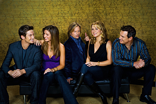RULES OF ENGAGEMENT, a comedy about the different phases of male/female relationships, as seen the through the eyes of an engaged couple, a long-time married pair and a single guy on the prowl. Pictured (L-R) Oliver Hudson, Bianca Kajlich, David Spade, Megyn Price and Patrick Warburton in the CBS series RULES OF ENGAGEMENT season premieres Monday, March 2 at 9:30-10:00 PM, ET/PT) on the CBS Television Network. Photo: Monty Brinton/CBS ©2008 CBS Broadcasting Inc. All Rights Reserved.