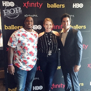 Troy Garity, Jason Donovan and PopEntertainment.com's Maggie Mitchell at the Philadelphia premiere of Ballers.