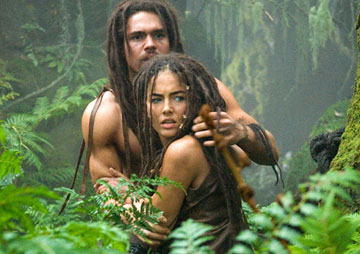"Steven Strait and Camilla Belle in ""10000 BC."""