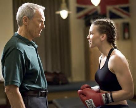 "Clint Eastwood and Hilary Swank in ""Million Dollar Baby."""