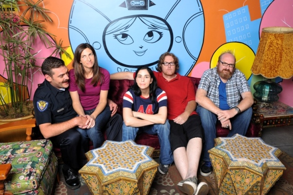 "LOS ANGELES, CA - SEPTEMBER 28: (L-R) Jay Johnston, Laura Silverman, Sarah Silverman, Steve Agee and Brian Posehn pose for a portrait on the set of Comedy Central's ""The Sarah Silverman Program"" on September 28, 2009 at Hollywood Center Studios in Los Angeles, California. (Photo by Vince Bucci/PictureGroup)"