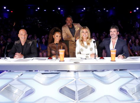 "Howie Mandel, Mel B, Nick Cannon, Heidi Klum and Simon Cowell on ""America's Got Talent."""