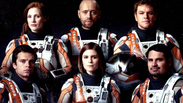 "Sebastian Stan, Jessica Chastain, Aksel Hennie, Kate Mara, Matt Damon and Michael Pena (l to r) in ""The Martian."""