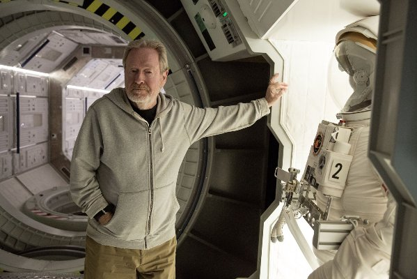 "Ridley Scott on the set of ""The Martian."""