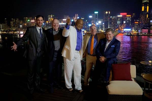 "BETTER LATE THAN NEVER -- ""Hong Kong"" Episode 104 -- Pictured: (l-r) Jeff Dye, Terry Bradshaw, George Foreman, Henry Winkler, William Shatner -- (Photo by: Paul Drinkwater/NBC)"