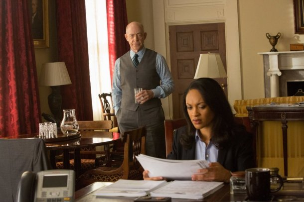 """Cynthia Addai-Robinson and JK Simmons in """"The Accountant."""""""