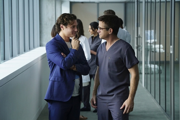 PURE GENIUS is a cutting-edgemedical drama about James Bell (Augustus Prew, left), a young Silicon Valley tech titan, who enlists Walter Wallace (Dermot Mulroney), a brilliant veteran surgeon with a controversial past, to run a state-of-the-art hospital with an ultramodern approach to medicine.  After football ends in October, PURE GENIUS will be broadcast Thursdays (10:00-11:00 PM, ET/PT) on the CBS Television Network.  Photo: Sonja Flemming/CBS ©2015 CBS Broadcasting, Inc. All Rights Reserved