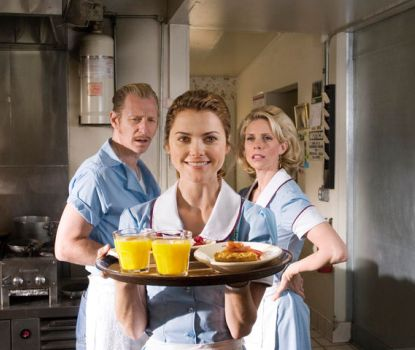 "Lew Temple, Keri Russell and Cheryl Hines in ""Waitress."""