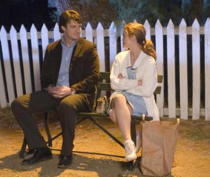 "Nathan Fillion and Keri Russell in ""Waitress."""