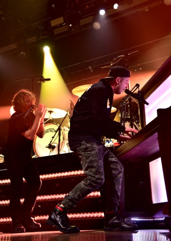 Drew Brown and Ryan Tedder of OneRepublic perform at the American Airlines and Mastercard Present OneRepublic at The Fillmore Philadelphia on November 29, 2016 in Philadelphia, PA. (Photo by Lisa Lake/WireImage)