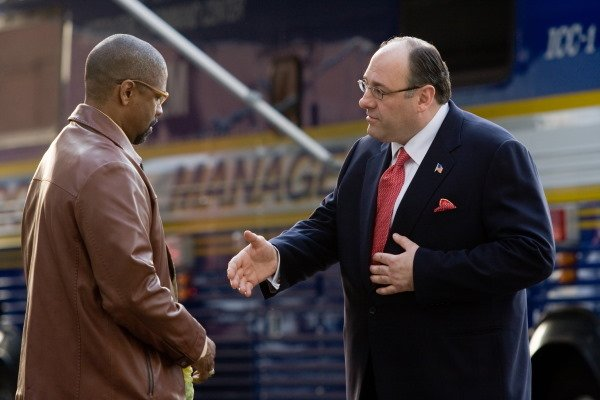 "Denzel Washington and James Gandolfini in ""The Taking of Pelham 1-2-3."""
