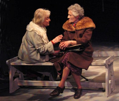"Rebecca Schull (L) plays Anna Akhmatova and Lenore Loveman (R) plays Nadezhda Mandelstam, the widow of the poet Osip Mandelstam, in ""On Naked Soil - Imagining Anna Akhmatova,"" a three-character play by Schull about the famed Russian poet.  Here, Akhmatova confides her fears of going mad, comparing herself to Pushkin.  Susan Einhorn directs the world premiere run April 12 to May 4, 2008, presented by  Theater for the New City, NYC in its Cino Theater.  Photo by Jonathan Slaff."
