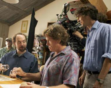"Paul Giammatti, Thomas Haden Church and Alexander Payne filming ""Sideways."""