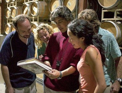 "Paul Giammatti, Virginia Madsen, Alexander Payne, Sandra Oh and Thomas Haden Church and Alexander Payne filming ""Sideways."""