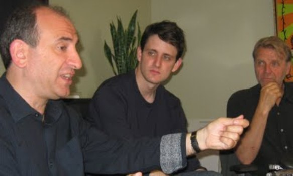 "Armando Ianucci, Zach Woods and David Rasche at the New York Press day for ""In the Loop."""