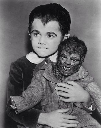 "Butch Patrick and Wolfie in ""The Munsters."""