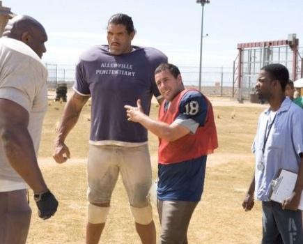 """Bob Sapp, Dalip Singh, Adam Sandler and Chris Rock in """"The Longest Yard."""""""