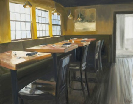 """Newburyport Restaurant"" painting by Eve Plumb"