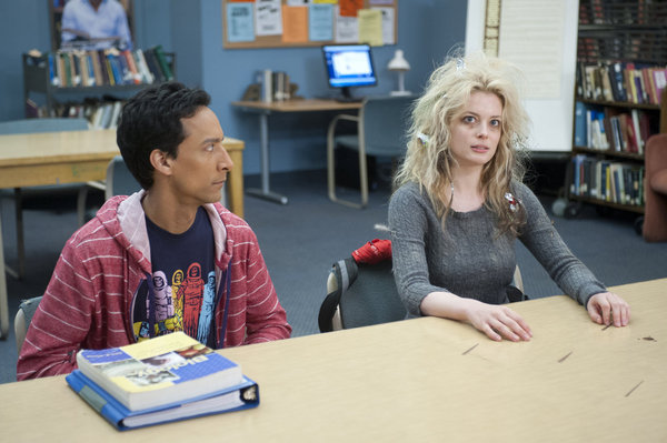 "COMMUNITY -- ""Curriculum Unavailable"" Episode 319 -- Pictured: (l-r) Danny Pudi as Abed, Gillian Jacobs as Britta -- (Photo by: Lewis Jacobs/NBC)"