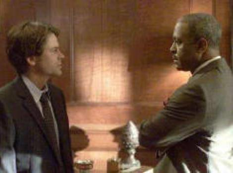 "Rob Lowe and James Pickens, Jr. in ""The Lyon's Den."""