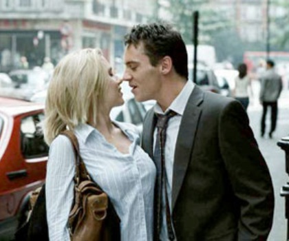 "Scarlett Johansson and Jonathan Rhys Meyers in ""Match Point."""