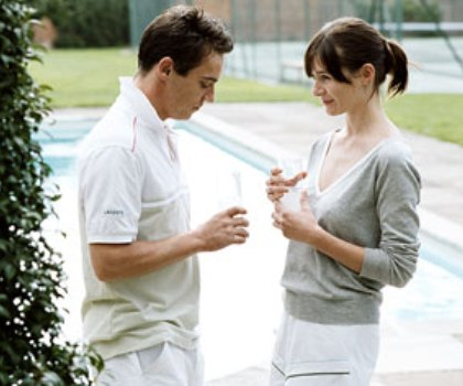"Jonathan Rhys Meyers and Emily Mortimer in ""Match Point."""