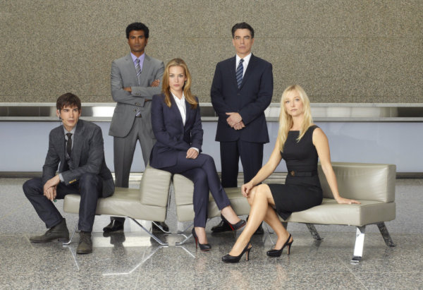 COVERT AFFAIRS -- Season:1 -- Pictured: (L-R) Christopher Gorham as Auggie Anderson, Sendhil Ramamurthy as Jai Wilcox, , Piper Perabo as Annie Walker, Peter Gallagher as Authur Campbell, Kari Matchett as Joan Campbell -- Photo by: Robert Ascroft/USA Network