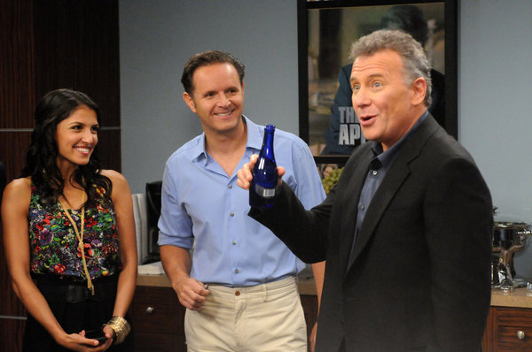 "THE PAUL REISER SHOW -- ""The Father's Occupation "" Episode 104 -- Pictured: (l-r) Nazneen Contractor as Kuma D'Bu, Mark Burnett as Himself, Paul Reiser as Paul -- Photo by: Michael Yarish/NBC"