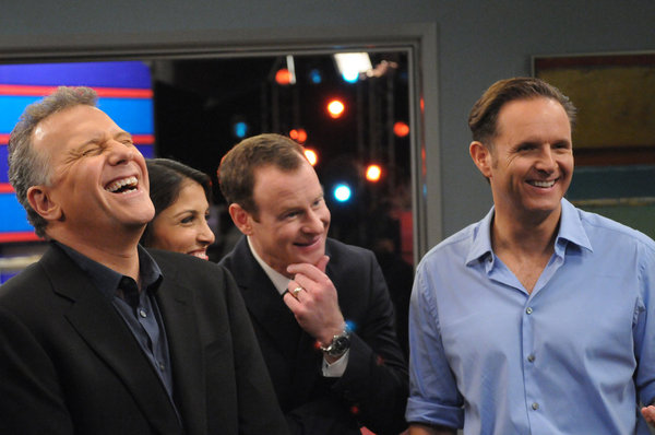 "THE PAUL REISER SHOW -- ""The Father's Occupation "" Episode 104 -- Pictured: (l-r) Paul Reiser as Paul, Nazneen Contractor as Kuma D'Bu, Larry Dorf as Alex Gimple, Mark Burnett as Himself -- Photo by: Michael Yarish/NBC"