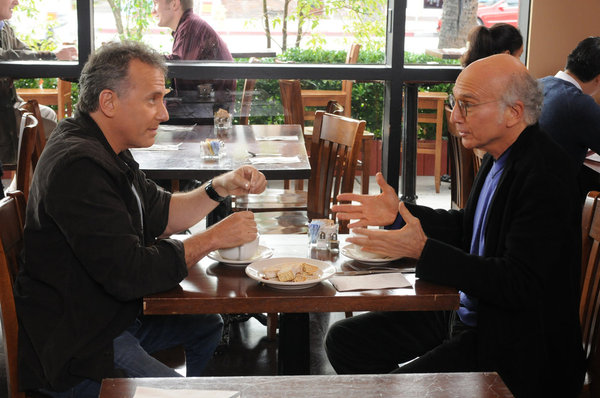 "THE PAUL REISER SHOW -- ""The Father's Occupation "" Episode 104 -- Pictured: (l-r) Paul Reiser as Paul, Larry David as Himself -- Photo by: Michael Yarish/NBC"