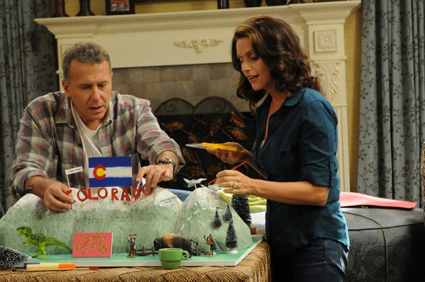 "THE PAUL REISER SHOW -- ""The Father's Occupation "" Episode 104 -- Pictured: (l-r) Paul Reiser as Paul, Amy Landecker as Claire -- Photo by: Michael Yarish/NBC"