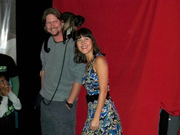 Mizuo Peck and Crystal the monkey at the Night at a Wax Museum on December 1, 2009 at Madame Tussaud's Wax Museum.