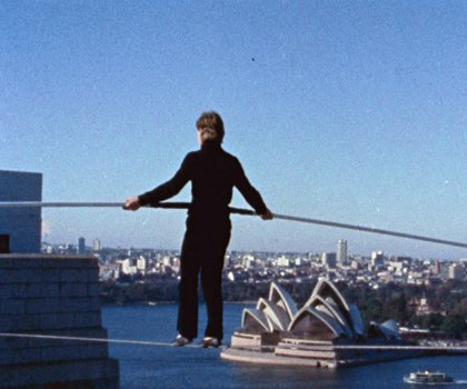 "Philippe Petit in ""Man on Wire."""