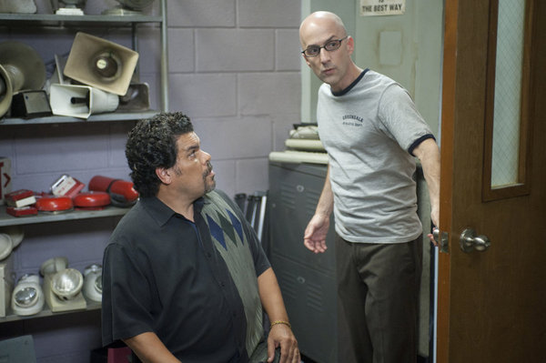 "COMMUNITY -- ""Documentary Filmmaking: Redux"" Episode 308 -- Pictured: (l-r) Luis Guzman as Luis Guzman, Jim Rash as Dean Pelton -- Photo by: Lewis Jacobs/NBC"