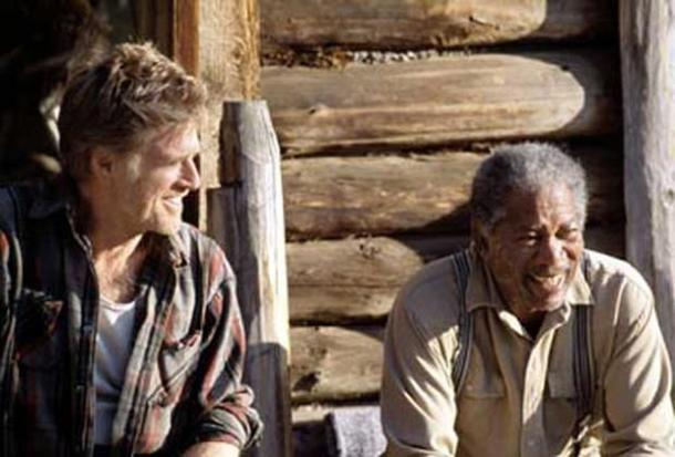 "Robert Redford and Morgan Freeman in ""An Unfinished Life."""