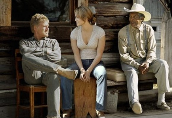 "Robert Redford, Jennifer Lopez and Morgan Freeman in ""An Unfinished Life."""