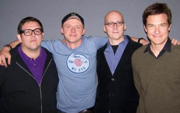 "Nick Frost, Simon Pegg, Greg Mottola and Jason Bateman at the New York press day for ""Paul."""